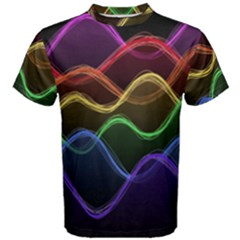 Twizzling Brain Waves Neon Wave Rainbow Color Pink Red Yellow Green Purple Blue Black Men s Cotton Tee