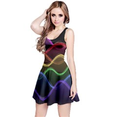 Twizzling Brain Waves Neon Wave Rainbow Color Pink Red Yellow Green Purple Blue Black Reversible Sleeveless Dress