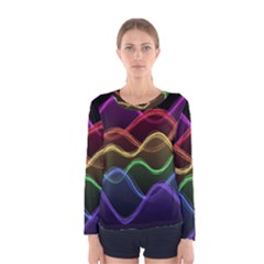 Twizzling Brain Waves Neon Wave Rainbow Color Pink Red Yellow Green Purple Blue Black Women s Long Sleeve Tee