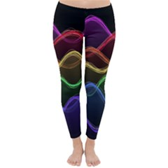 Twizzling Brain Waves Neon Wave Rainbow Color Pink Red Yellow Green Purple Blue Black Classic Winter Leggings