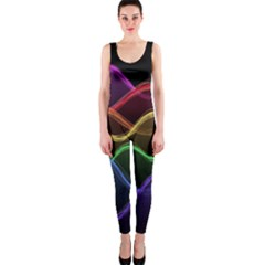 Twizzling Brain Waves Neon Wave Rainbow Color Pink Red Yellow Green Purple Blue Black OnePiece Catsuit