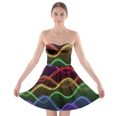 Twizzling Brain Waves Neon Wave Rainbow Color Pink Red Yellow Green Purple Blue Black Strapless Bra Top Dress