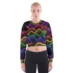 Twizzling Brain Waves Neon Wave Rainbow Color Pink Red Yellow Green Purple Blue Black Women s Cropped Sweatshirt