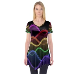 Twizzling Brain Waves Neon Wave Rainbow Color Pink Red Yellow Green Purple Blue Black Short Sleeve Tunic