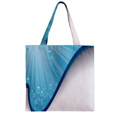 Water Bubble Waves Blue Wave Zipper Grocery Tote Bag