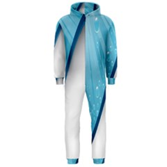 Water Bubble Waves Blue Wave Hooded Jumpsuit (Men)
