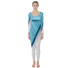 Water Bubble Waves Blue Wave Long Sleeve Catsuit