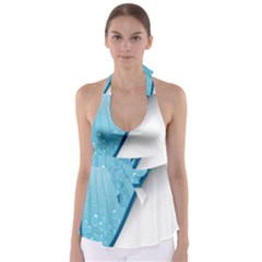 Water Bubble Waves Blue Wave Babydoll Tankini Top