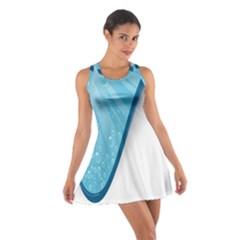 Water Bubble Waves Blue Wave Cotton Racerback Dress