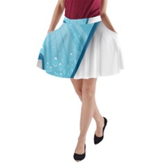 Water Bubble Waves Blue Wave A-Line Pocket Skirt