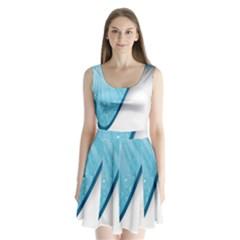 Water Bubble Waves Blue Wave Split Back Mini Dress