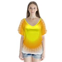 Sunlight Sun Orange Yellow Light Flutter Sleeve Top