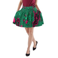 Reaction Diffusion Green Purple A-Line Pocket Skirt