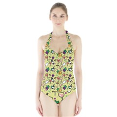 Wine Cheede Fruit Purple Yellow Halter Swimsuit