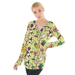 Wine Cheede Fruit Purple Yellow Women s Tie Up Tee