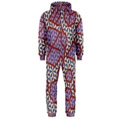 Triangle Plaid Circle Purple Grey Red Hooded Jumpsuit (Men)