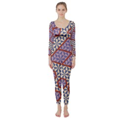 Triangle Plaid Circle Purple Grey Red Long Sleeve Catsuit