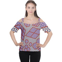 Triangle Plaid Circle Purple Grey Red Women s Cutout Shoulder Tee