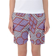 Triangle Plaid Circle Purple Grey Red Women s Basketball Shorts