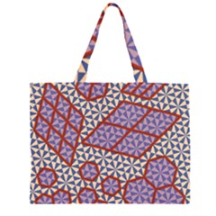 Triangle Plaid Circle Purple Grey Red Large Tote Bag
