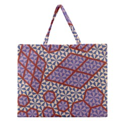 Triangle Plaid Circle Purple Grey Red Zipper Large Tote Bag