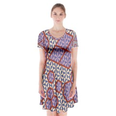 Triangle Plaid Circle Purple Grey Red Short Sleeve V-neck Flare Dress