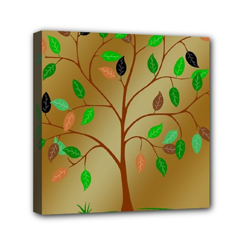 Tree Root Leaves Contour Outlines Mini Canvas 6  x 6