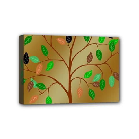 Tree Root Leaves Contour Outlines Mini Canvas 6  X 4