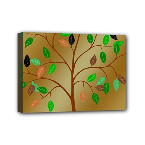 Tree Root Leaves Contour Outlines Mini Canvas 7  x 5