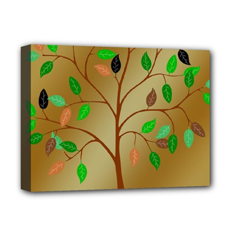 Tree Root Leaves Contour Outlines Deluxe Canvas 16  x 12