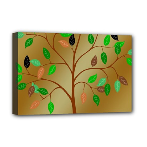 Tree Root Leaves Contour Outlines Deluxe Canvas 18  x 12