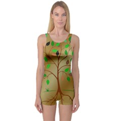Tree Root Leaves Contour Outlines One Piece Boyleg Swimsuit