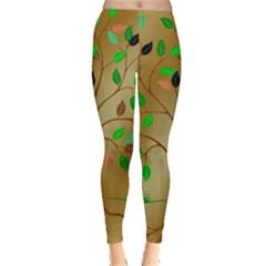 Tree Root Leaves Contour Outlines Leggings