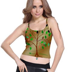 Tree Root Leaves Contour Outlines Spaghetti Strap Bra Top