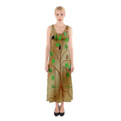 Tree Root Leaves Contour Outlines Sleeveless Maxi Dress