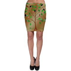 Tree Root Leaves Contour Outlines Bodycon Skirt