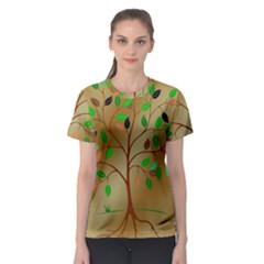 Tree Root Leaves Contour Outlines Women s Sport Mesh Tee