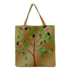 Tree Root Leaves Contour Outlines Grocery Tote Bag