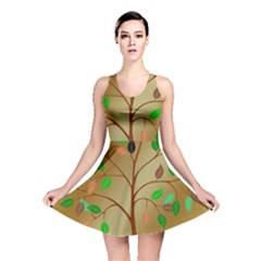 Tree Root Leaves Contour Outlines Reversible Skater Dress