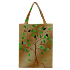 Tree Root Leaves Contour Outlines Classic Tote Bag