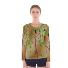 Tree Root Leaves Contour Outlines Women s Long Sleeve Tee