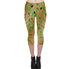 Tree Root Leaves Contour Outlines Capri Leggings