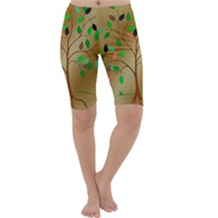 Tree Root Leaves Contour Outlines Cropped Leggings