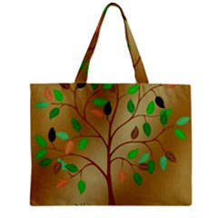 Tree Root Leaves Contour Outlines Zipper Mini Tote Bag