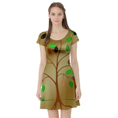 Tree Root Leaves Contour Outlines Short Sleeve Skater Dress
