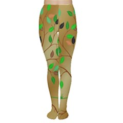 Tree Root Leaves Contour Outlines Women s Tights