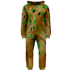 Tree Root Leaves Contour Outlines Hooded Jumpsuit (Ladies)