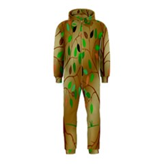 Tree Root Leaves Contour Outlines Hooded Jumpsuit (kids)