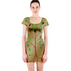 Tree Root Leaves Contour Outlines Short Sleeve Bodycon Dress