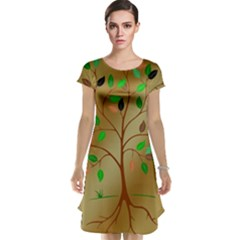 Tree Root Leaves Contour Outlines Cap Sleeve Nightdress